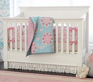 Brooklyn Nursery Quilt Bedding Set: Toddler Quilt, Crib Skirt & Crib Fitted Sheet, Pink