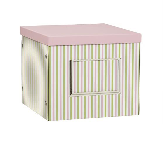 Deep Cube Box, Pink Stripe