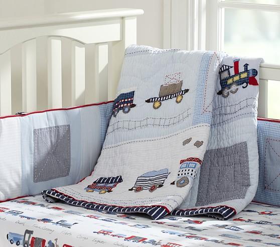 Logan Nursery Quilt Bedding Set: Toddler Quilt, Crib Skirt & Crib Fitted Sheet