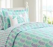 Preppy Seahorse Duvet Cover, Twin, Lavender/Blue