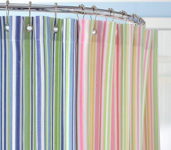 Multistripe Shower Curtain, Pink
