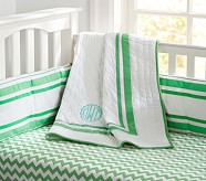 Harper Chevron Nursery Quilt Bedding Set, Bright Green