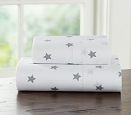 Star Toddler Sheet Set, Gray