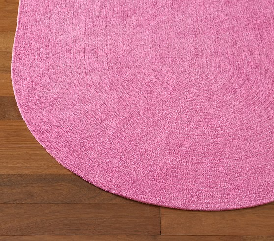 Bright Pink Chenille Braided Rug Swatch