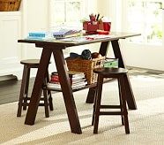 Hudson Trestle Game Table, Rustic Sun Valley Espresso