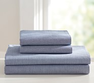 Chambray Sheet Set, Full, Navy