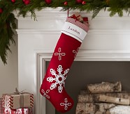 Snowflakes Long Quilted Stocking