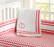 Harper Chevron Nursery Quilt Bedding Set, Coral