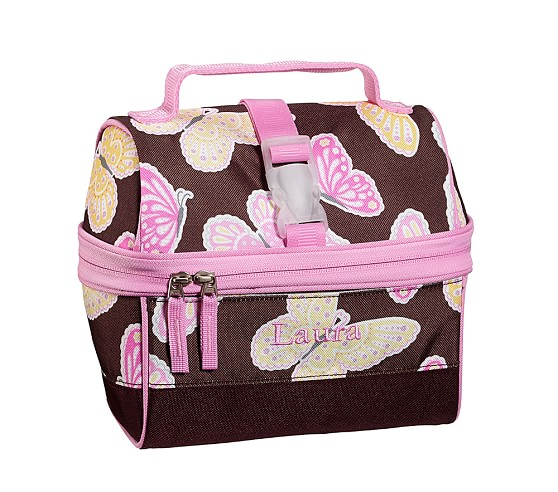 Mackenzie Chocolate Butterfly Retro Lunch Bag
