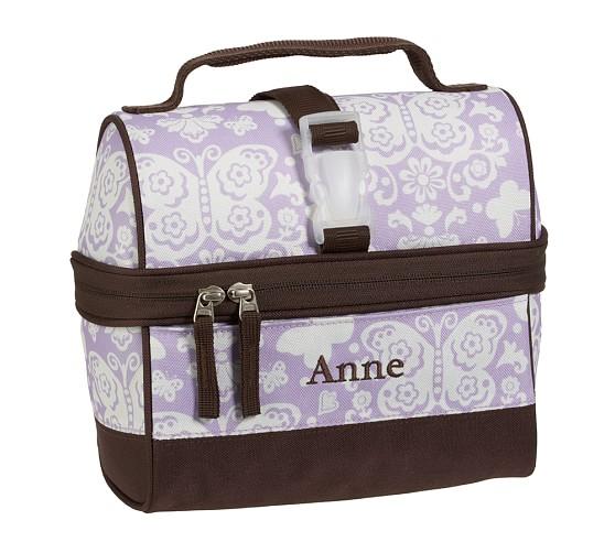 Mackenzie Lavender Damask Retro Lunch Bag