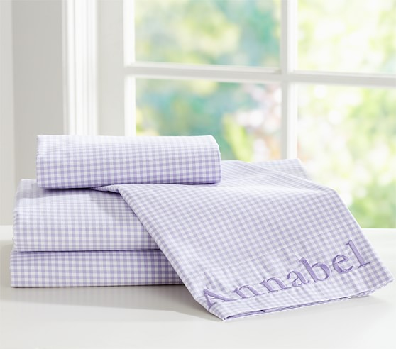 Gingham Sheet Set, Twin, Lavender