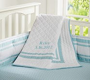 Harper Nursery Bedding Set: Crib Fitted Sheet, Toddler Quilt & Crib Skirt, Aqua Mini Dot