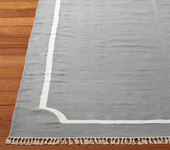 Cotton Dhurrie Border Mat 3x5' Gray