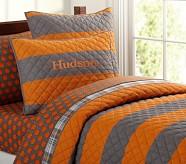 Rugby Stripe Quilt, Twin, Orange/Gray