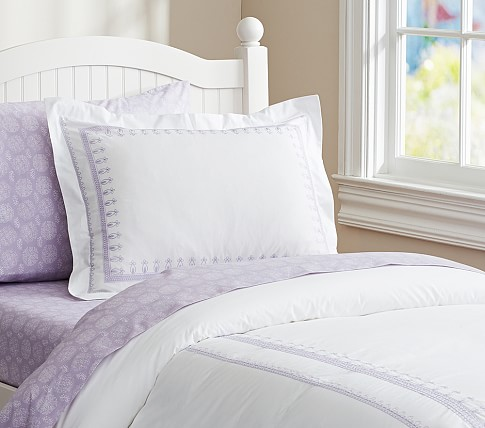 Embroidered Duvet Cover, Twin, Lavender