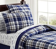 Charlie Plaid Quilt, Navy, Twin