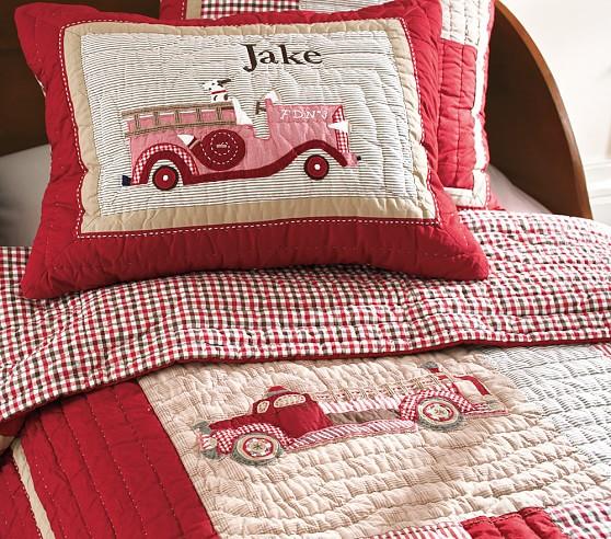 Fire Truck Crib Bedding : Jake s fire truck crib skirt pottery barn kids