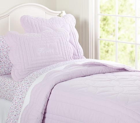 Ruffle Velvet Quilt, Lavender, Twin