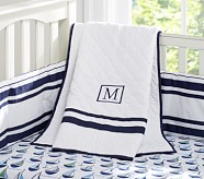 Preppy Boats Nursery Quilt Bedding Set: Toddler Quilt, Crib Skirt & Crib Fitted Sheet