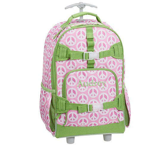 Mackenzie Pink Peace Rolling Backpack