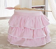 Madeline Stool with Cushion, Pink Ruffle