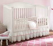 Pink Ribbon Ruffle Crib Skirt