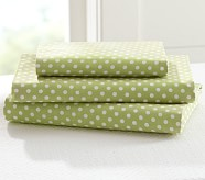 Mini Dot Toddler Sheet Set, Green