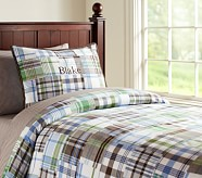 Madras Duvet Cover, Twin, Blue/Brown