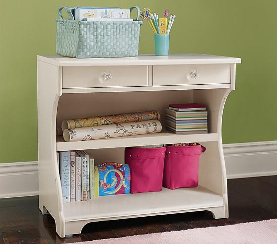 Olivia Console Bookcase, Vintage White