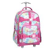 Mackenzie Aqua Hibiscus Rolling Backpack