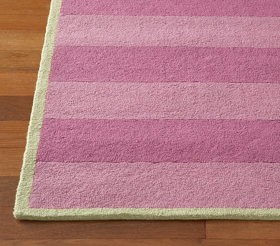 Girls Pink Rugby Stripe Rug Swatch