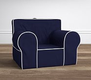 Navy with White Piping Oversized Anywhere Slipcover Only