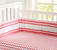 Chevron Crib Fitted Sheet, Coral