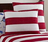 Rugby Stripe Standard Quilted Sham, Red/White