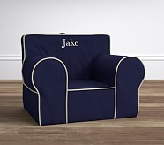 Oversized Anywhere Chair® Insert & Slipcover Set, Navy with Stone Piping