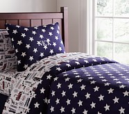 Star Chamois Duvet Cover, Twin, Navy