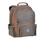 Fairfax Gray/Orange Large Backpack, Baseball