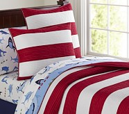 Rugby Stripe Quilt, Twin, Red/White