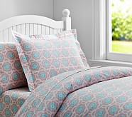 Vivian Duvet Cover, Full/Queen, Pink/Aqua