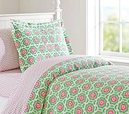 Vivian Duvet Cover, Twin, Green/Pink