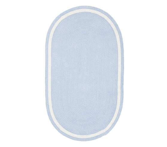 Capel Chenille Rug 3' x 5' Oval, Light Blue with White