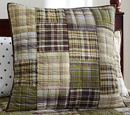Madras Quilted Sham, Euro, Green/Brown