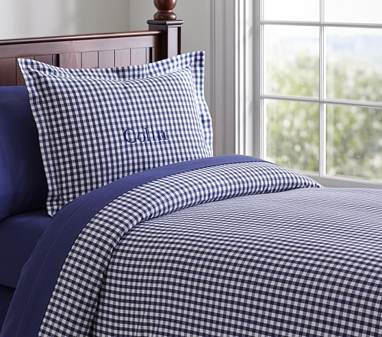 Buffalo Check Flannel Duvet Cover, Full/Queen, Navy