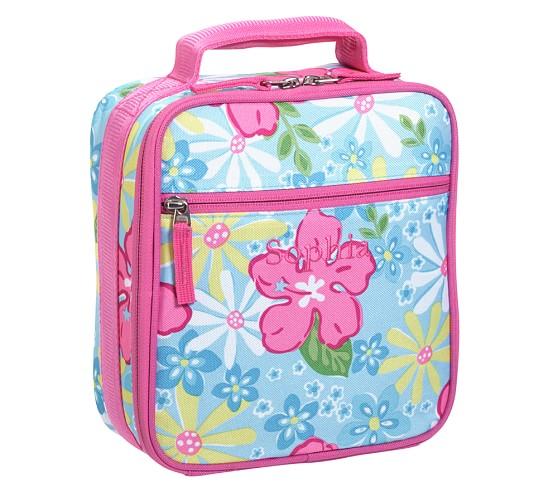 Mackenzie Aqua Hibiscus Classic Lunch Bag
