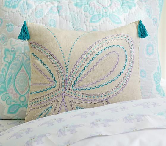 Linen Tassel Decorative Shams, Lavender Butterfly