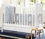 Preston Nursery Bedding Set: Toddler Quilt, Crib Skirt & Crib Fitted Sheet, Navy