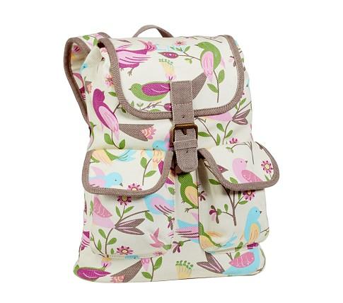 Brea White Bird Small Backpack