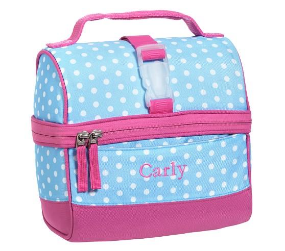 Mackenzie Aqua Dot Retro Lunch Bag