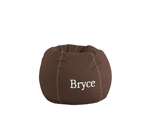 Anywhere Beanbag Slipcover, Chocolate with Khaki Stitch