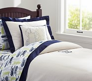 Bright Border Linen Duvet Cover, Twin, Navy